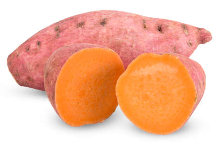 sweet potato and half isolated on white