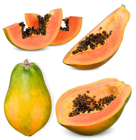 ripe papaya and half slice isolated on white background 스톡 콘텐츠