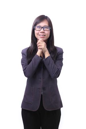 glad: working women in glad emotion