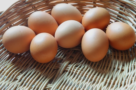 organics: fresh eggs form native farm Stock Photo