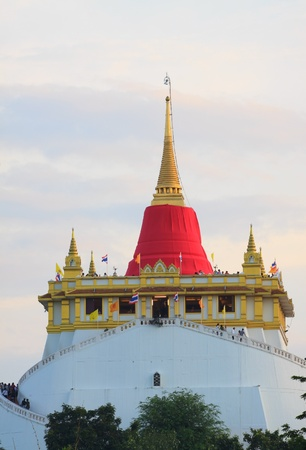bangkok temple: golden mountain in red clothes cover event Stock Photo