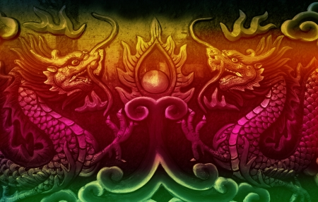 colorful dragon painting on wall photo