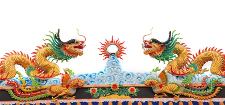 twin dragon on chinese temple roof photo