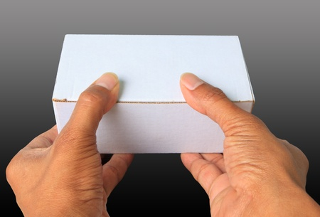 two hand give gift white box photo