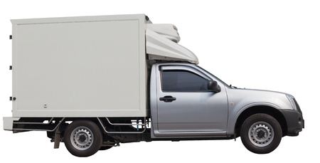bonnet up: cool truck van delivery fresh food  Stock Photo