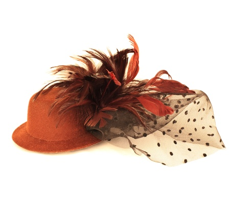 f1f272b4ace hat and bird feather on white background Stock Photo