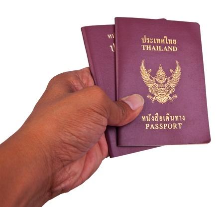 passport and hand isolated white photo