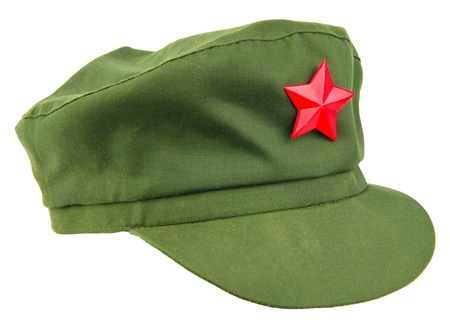 chinese red star cap isolated white photo