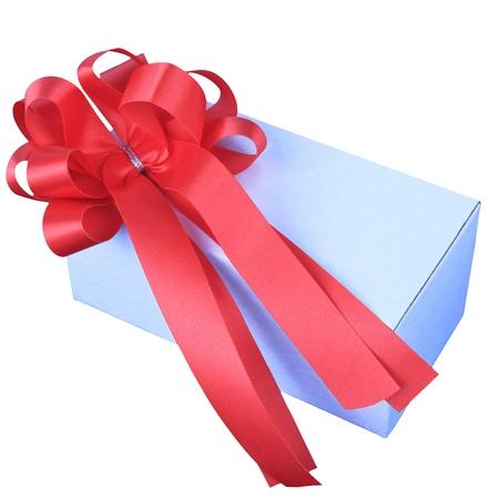 ribbin: red ribbon on white box isolated white