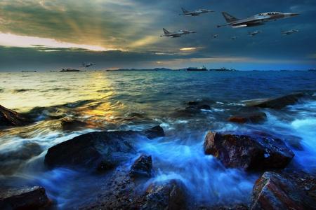 battle plane: jet plane flying over sea coast in dusky time movies scene