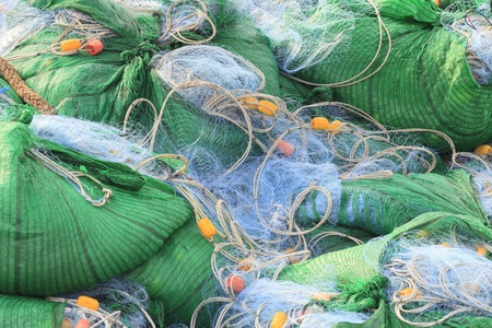 fishnet: net for catching fish package in boat Stock Photo