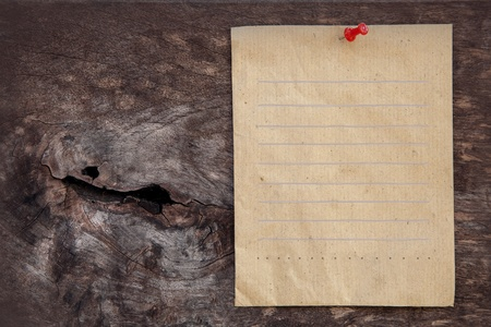 recycle paper for write text on wood texture background nature idea photo