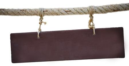 letreros: banner de madera colgando de la cuerda Foto de archivo