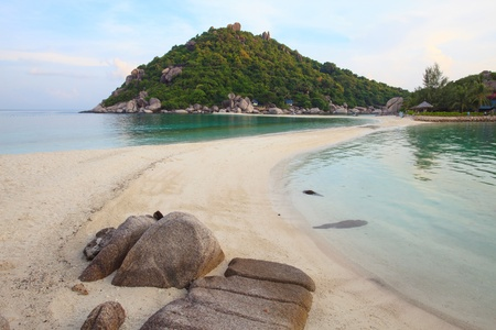 sea beach and sea water two side on nangyuan island suratthani thailand photo