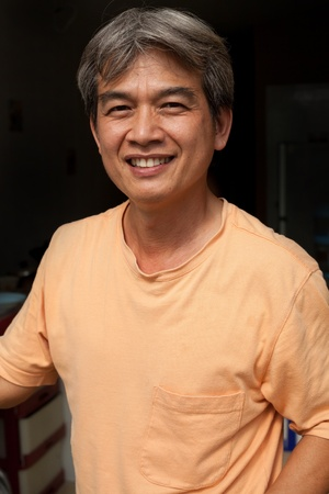 good healthy man smiling with nice feeling photo