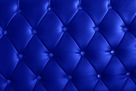 blue leather sofa: pattern of bright blue leather with crystal decorated Stock Photo
