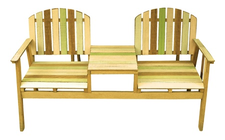 couples of old wood chairs isolated white photo