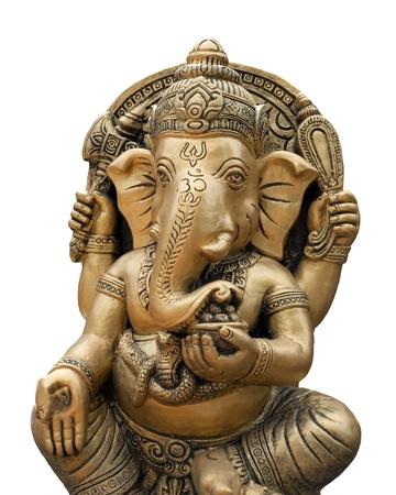 idool: Ganesh god geïsoleerde witte Stockfoto