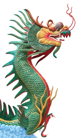 chinatown: face of dragon on blue clouds isolated white Stock Photo