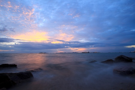 scene of seascape with colorful sky  in dusky time  Stock Photo - 13592325