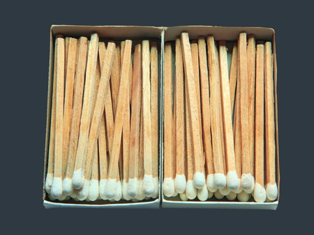 matchstick: white matches in paper box isolated on gray color background