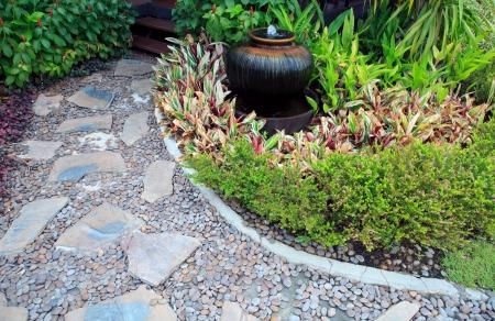 garden fountain: home garden with fountain jar