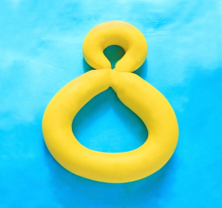 arabic number: arabic number hand made by colorful clay Stock Photo