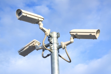 camera cctv and blue sky background Stock Photo - 14018025