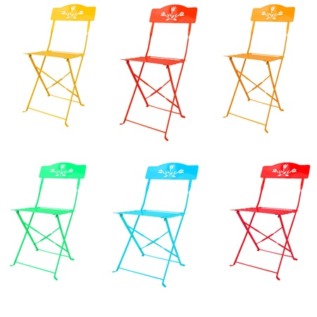 colorful of metal chairs isolated on white photo