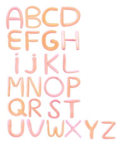 key words  art: colorful clay sculpture alphabet isolated on white background Stock Photo