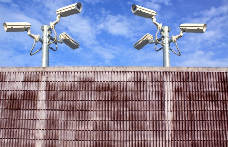 wall and cctv camera securities photo