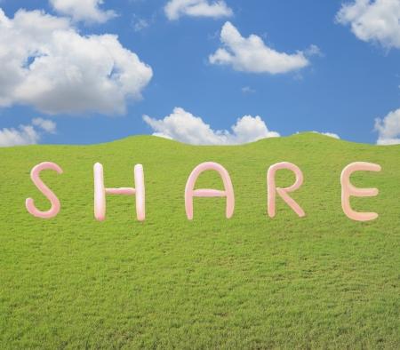 wording: share wording on grass field