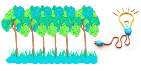 bulb lamp plug wire and tree forest   on white background Stock Photo - 14085808