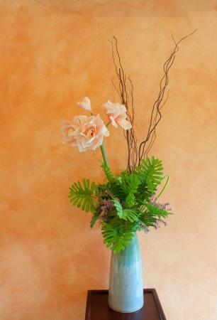 antique vase: decorated  flowers in jug