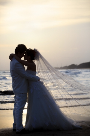 novia y el novio celebración y un abrazo al borde del mar en el tiempo oscuro Foto de archivo
