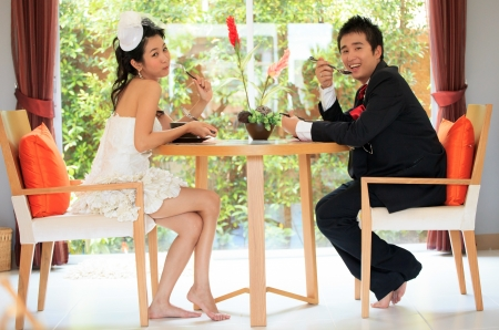 dinning table: face asian man and women with happiness emotion Stock Photo