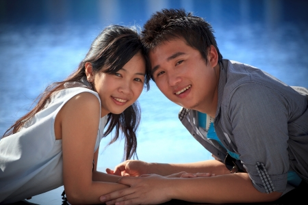 face asian man and women with happiness emotion photo