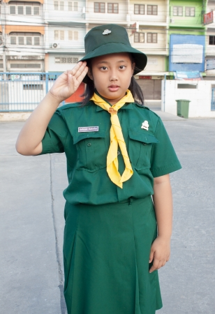 girl scouts green uniform photo