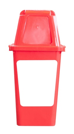 red bin trash isolated white photo