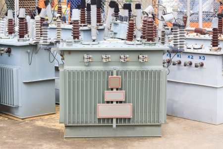 electricity substation: high voltage adapter transmission Stock Photo