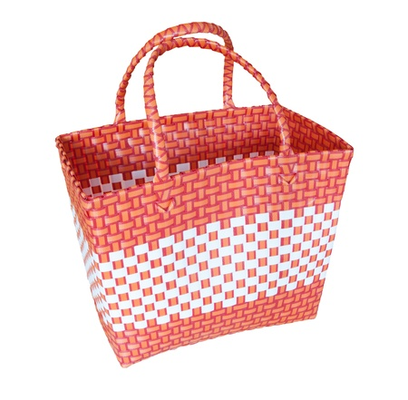 plastic made: hand craft plastic basket isolated white Stock Photo