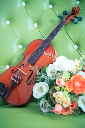 violas: violin and bouquet flowers on luxury  green leather Stock Photo