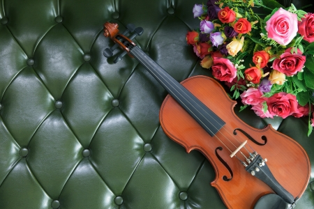 violin and flower on luxury green leather background  photo