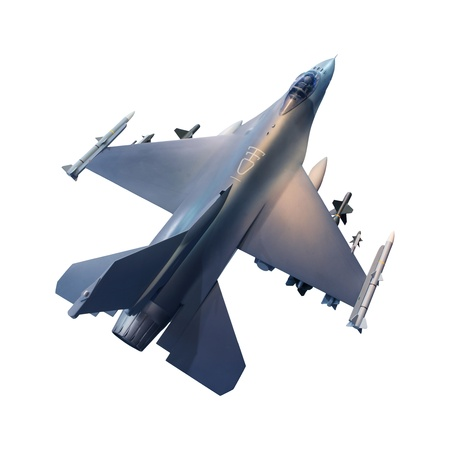 jet fighter: military jet plane isolated white background