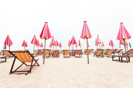 chairs beach and umbrella on sand beach Stock Photo - 14549988