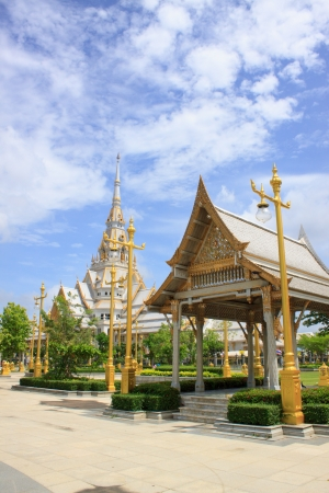 buddhist temple roof: A great marble church, Wat Sothorn, Chachoengsao Thailand