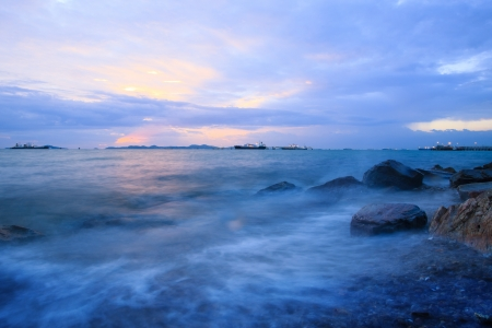 sunset at sea port  Stock Photo - 14621214