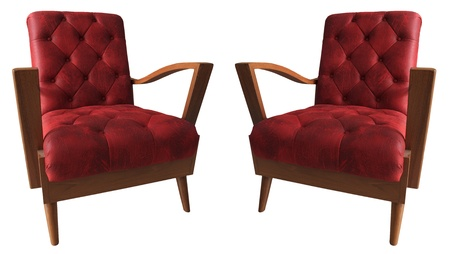 leather armchair: red couples arm chairs isolated white