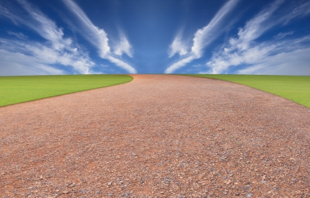running track and blue sky background photo