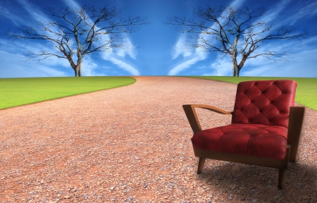 albero secco: poltrone rosse a terra terreno con albero secco